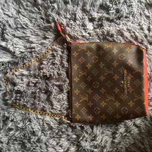 LOUIS VUITTON PRINT BAG RED w/ CHANGEABLE STRAP